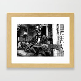 Chillin playing the Blues Framed Art Print