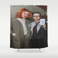 mulder Shower Curtains featuring Scully and Mulder of X-Files by andradexcobain