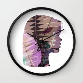 Face silhouette floral green tones Wall Clock