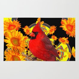 RED CARDINAL SUNFLOWERS BLACK ART Rug