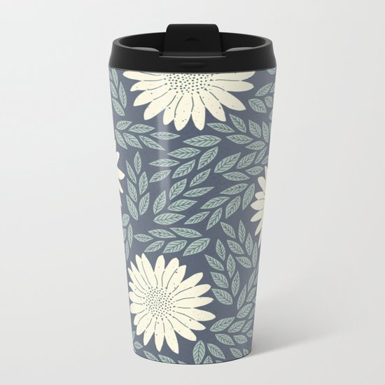 White flower retro pattern Metal Travel Mug