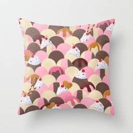 Ice Cream Sundaes - Neapolitan Pattern Throw Pillow
