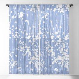 stemmy weeds nautical blue Sheer Curtain