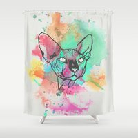 sphynx Shower Curtains featuring Watercolor Sphynx by Zeke Tucker