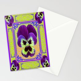 Pansy Purple-yellow Art Noveau Pattern Design Stationery Cards