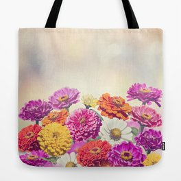 Colorful Blossom of Zinnia flowers Tote Bag