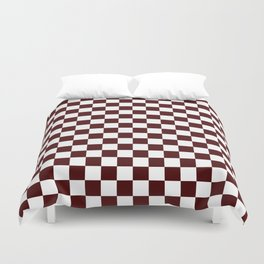 Small Checkered - White and Bulgarian Rose Red Duvet Cover