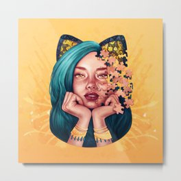 Puzzle Cat Girl Metal Print