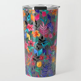 Popping Color Painted Floral on Grey Travel Mug