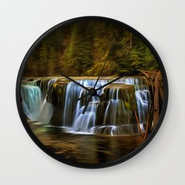 Lower Lewis River Falls in Autumn Wall Clock