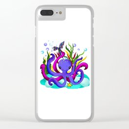 Octopus illustration Clear iPhone Case