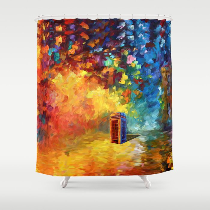 British Red Phone box Shower Curtain