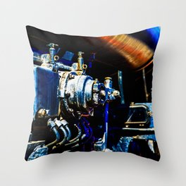 Valves And Tubes Of A Vintage Steam Engine Locomotive Throw Pillow