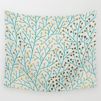 gold Wall Tapestries featuring Berry Branches – Turquoise & Gold by Cat Coquillette