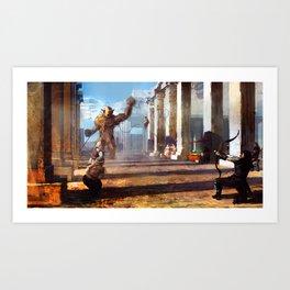 Temple Disturbance.  Art Print