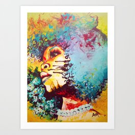 Unstrained Afro Blue Art Print