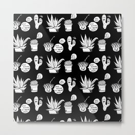 Cacti Chronicles - Black and White Comic Illustration Cactus Pattern Metal Print