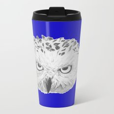 Snowy Owl Bright Blue Metal Travel Mug