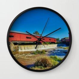 Bridgeton, Indiana Red Covered Bridge and Waterfall Wall Clock