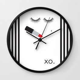 Lipstick & Lashes Wall Clock
