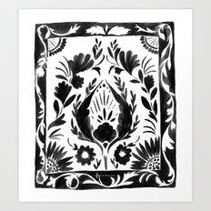 Nadia Flower - Black Art Print