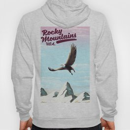 Rocky Mountains USA vintage travel poster Hoody