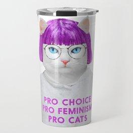 Pastel Feminist Cat Travel Mug