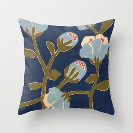 Blue Perennial Throw Pillow