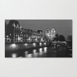 Paris Notre Dame and Seine river. Canvas Print