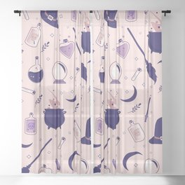 Pink Witch Pattern Sheer Curtain