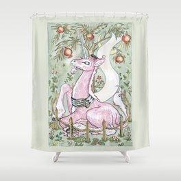 Hammond the Pink Giraffe Shower Curtain