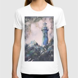 Watercolor painting of Currituck Lighthouse in the Outer Banks, NC, lighthouse painting T-shirt