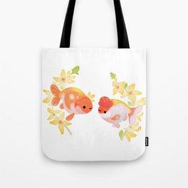 Ranchu and Forsythias Tote Bag