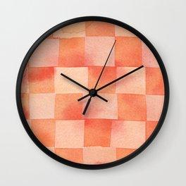 Tartan Citrus Rusty burnt Orange & Blush Pink Abstraction_modern watercolor Wall Clock