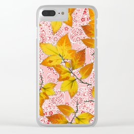 Pink Paisley Autumn Leaves Clear iPhone Case
