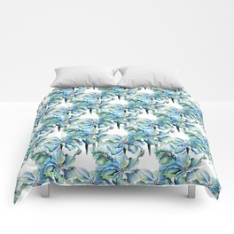 Watercolor Himalayan Blue Poppies Comforters