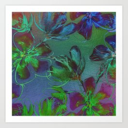 Botanical Art | Jewel Toned Flowers Art Print