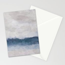 Navy Indigo Blue Water, Lavender Clouds, Beige Sandy Plains Beach, Calm & Relaxing Modern Abstract Painting, Art Print Wall Decor  Stationery Cards