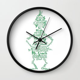 Mr.Grinch Typography Wall Clock