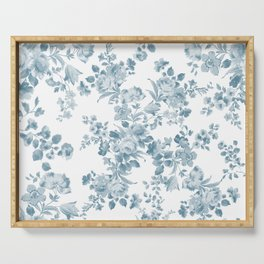 Vintage blue white bohemian elegant floral Serving Tray