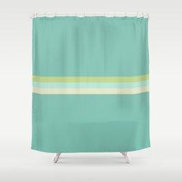 Treble Stripe in Aqua Blue and Lime Green. Minimalist Pattern Shower Curtain