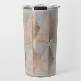 Copper Foil and Blush Rose Gold Marble Triangles Argyle Travel Mug