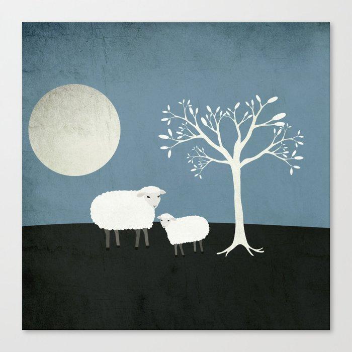 Midnight Sheep Canvas Print