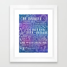 Be Patient by Rainer Maria Rilke Framed Art Print