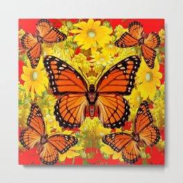 VICEROY BUTTERFLIES & YELLOW FLOWERS RED ART Metal Print