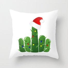 Fucktus   Christmas Cactus Flippin The Bird Throw Pillow