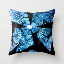 Looking up at Midnight Trees Throw Pillow