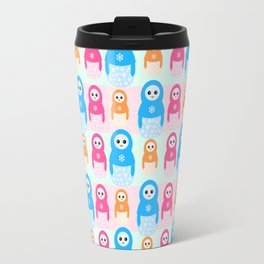 Winter matrioshka candy penguins pattern Travel Mug