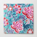 Bohemian Floral Paisley in Turquoise, Red and Pink by shellybrewerpenko