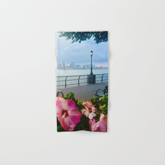 Battery Park New York City Skyline with Pink Hibiscus Flowers Hand & Bath Towel